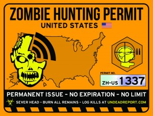 zombie hunting permit usa sticker