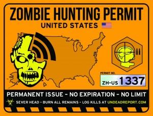 zombie hunting permit usa sticker